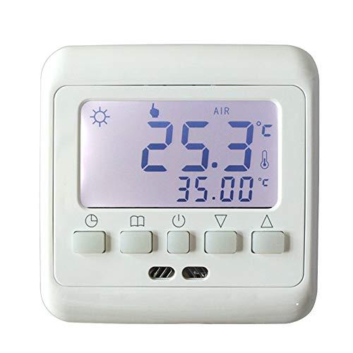 LKSDD Temperaturregler, Thermostat für Fußbodenheizung mit weißer Hintergrundbeleuchtung Wöchentlich programmierbarer LCD-Tasten-Temperaturregler Hot Room,Weiß