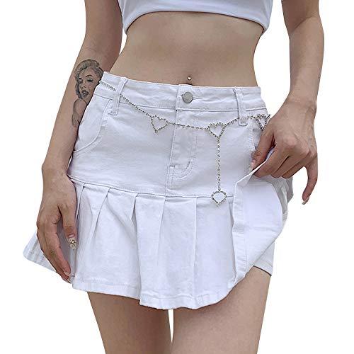 Faldas cortas casuales para mujer y niñas, con falda plisada y volantes cortos