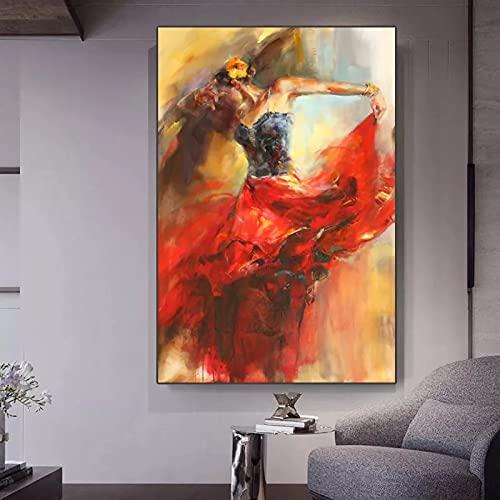 JHGJHK Dancing Girl coreography Pintura al óleo Impresiones Familiares Sala de Estar Dormitorio decoración de la Pared Pintura