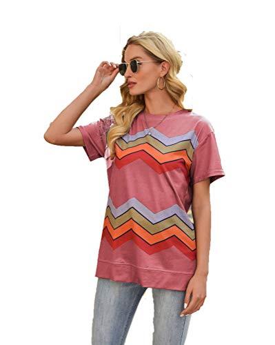 SLYZ 2021 Europa Y Amrica, Primavera Y Verano, Nueva Blusa para Mujer, Estampado A Rayas, Cuello Redondo, Camiseta De Manga Corta, Mujer