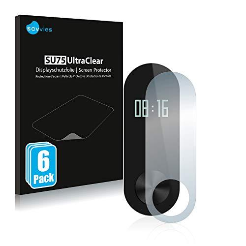 Savvies 6X Schutzfolie kompatibel mit Xiaomi Mi Band 2 Displayschutz-Folie Ultra-transparent