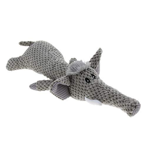 perfk Plüschtier Hundespielzeug Hunde Welpen Kauspielzeug Quietschendes Spielzeug - Elefant