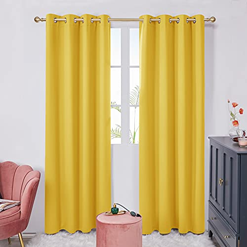Deconovo Yellow Curtains 63 Inch Length, Blackout Curtains, Thermal Window Drapes, Soundproof Nursery Curtains (Yellow, 52x63 Inch, Set of 2)