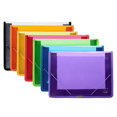 A4 Carpetas Plastico Extensible Transparentes, POERMA 7 Colores Surtidos, Carpeta Impermeable para Documentos Oficina y Escolar