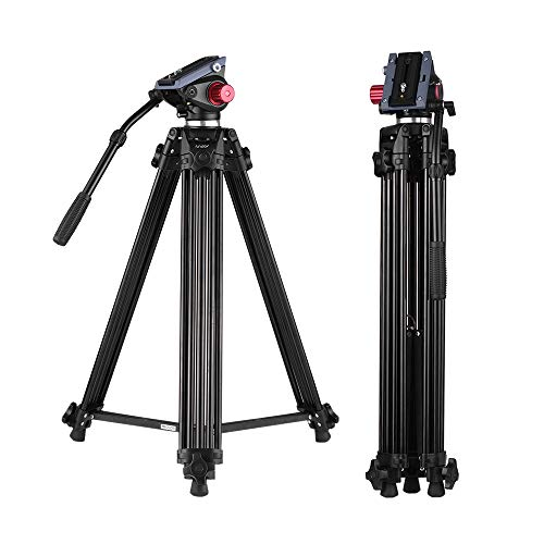 71 inch Professional Heavy Duty Aluminum Tripod with Quick Release Plate and Fluid Drag Pan Tilt Max Load 17.6lb 180cm for DSLR Camcorder Andoer Video Tripod