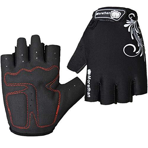 Guanti da ciclismo promozionali mezze dita squadra uomo e donna guanti traspiranti guanti da bicicletta estivi 5 colori - nero, L