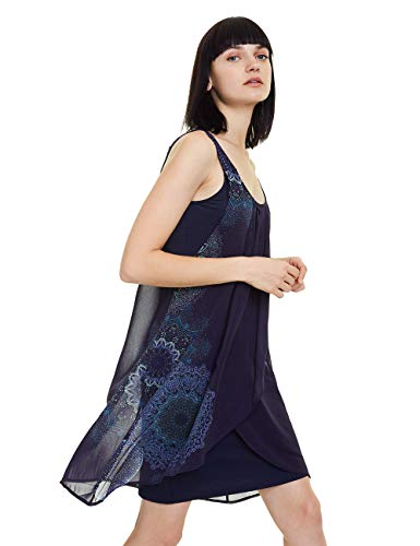 Desigual Damen Dress Sevilla Kleid, Blau (Marino 5001), (Herstellergröße: 46)