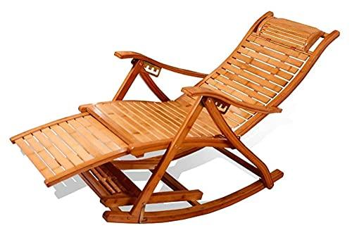ZOUJIANGTAO Sillas de Camping Sillón de jardín Silla Plegable Bambú Plegable Rocking Sillón Silla 5 Archivos Ajustable Jardín Reclinador (Color : Wooden)