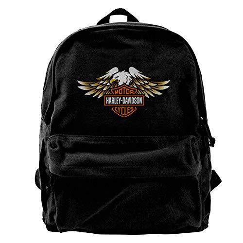 N / A Harley Davidson Paket Leinwand Rucksack Klassische Schwarze Schultasche Schüler Gehen Zur Arbeit