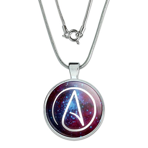"""GRAPHICS & MORE Atheist Atheism Symbol in Space 1"""" Pendant with Sterling Silver Plated Chain"""