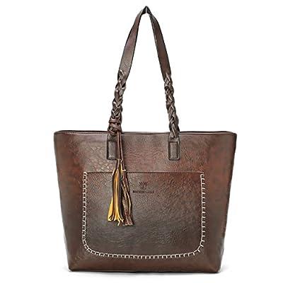 Women Vintage Tote Bag, OURBAG Ladies PU Leather Tote Shoulder Bag Handbag Purse Fashion Large Capacity Bag Coffee