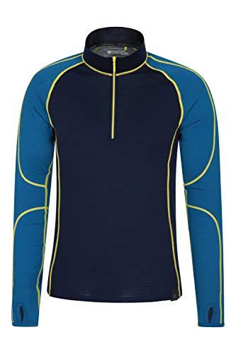 Mountain Warehouse Asgard Merino Herren Oberteil mit Reißverschlusskragen Unterhemd Funktionsunterwäsche Langarmshirt Thermounterwäsche Ski Snowboard Winter Baselayer Blau Large