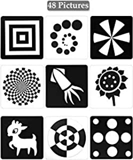 Black White Flash Cards for Infants, 48 Pictures 5.5 x 5.5 Inch Designed Contrast Cards for 0 - 6 Months Newborn Baby Toys...