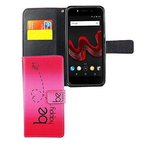 König Design Handyhülle Kompatibel mit Wiko Wim Lite Handytasche Schutzhülle Tasche Flip Hülle mit Kreditkartenfächern - Be Happy Design Pink