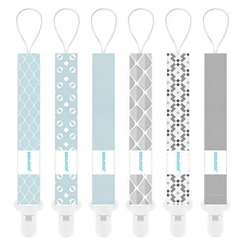 YOOFOSS Schnullerkette 6er Pack Baumwolle Baby Schnullerband Nuckelketten Junge Mädchen Schnullerketten für Schnur mit Clips Geometrisch
