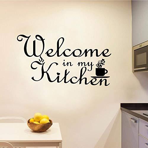 Blrpbc Pegatinas de Pared Adhesivos Pared Cocina Bienvenido Señalización Arte de la Pared Calcomanía Etiqueta de la Cocina para la decoración de la Cocina casera extraíble 86x48cm