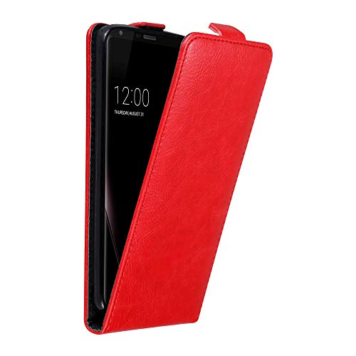 Cadorabo Case Compatible with LG V30 in Apple RED - Flip Style Case with Magnetic Closure - Wallet Etui Cover Pouch PU Leather Flip