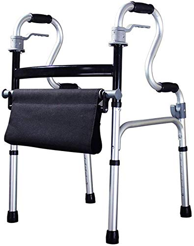 FEE-ZC algemeen doel lichtgewicht 3,9kg opvouwbare volwassen senioren Rollator Walking Fram Aid zonder wiel |Aluminium | met zitting | Verstelbare hoogte 78-93cm | Max belasting 180kg