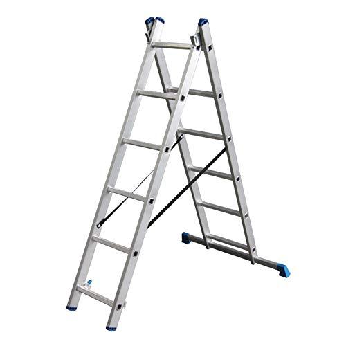 Alumexx Ladder 2-Delig - Schuif - Ladder - Reform - Ladder - Aluminium - Ladder - 2x6 Sporen - 2.43 m Lang (Uitgeschoven) - Hoogwaardig Aluminium