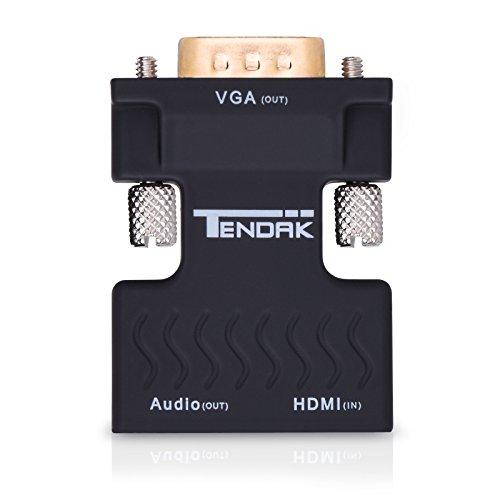 Tendak Adaptador de audio HDMI a VGA HDMI a VGA con convertidor de audio estéreo de 3,5 mm 1080P, Compatible con computadora, portátil, proyector, HDTV Blu-Ray, PS3, XBOX, STB y DVD TV Stick