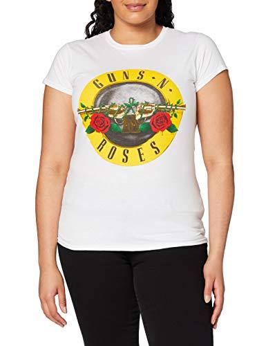Guns & Roses Guns N' Roses Classic Bullet Logo (Skinny Fit) Camiseta, Blanco, L para Mujer