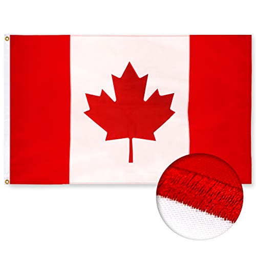 G128 – Canada (Canadian) Flag | 3x5 feet | Double Sided Embroidered 210D Heavy Duty Polyester – Indoor/Outdoor, Vibrant Colors, Brass Grommets, 3-ply