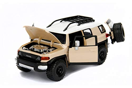 Toyota FJ Cruiser with Roof Rack Beige with White Top Just Trucks 1/24 Diecast Model Car by Jada 99319
