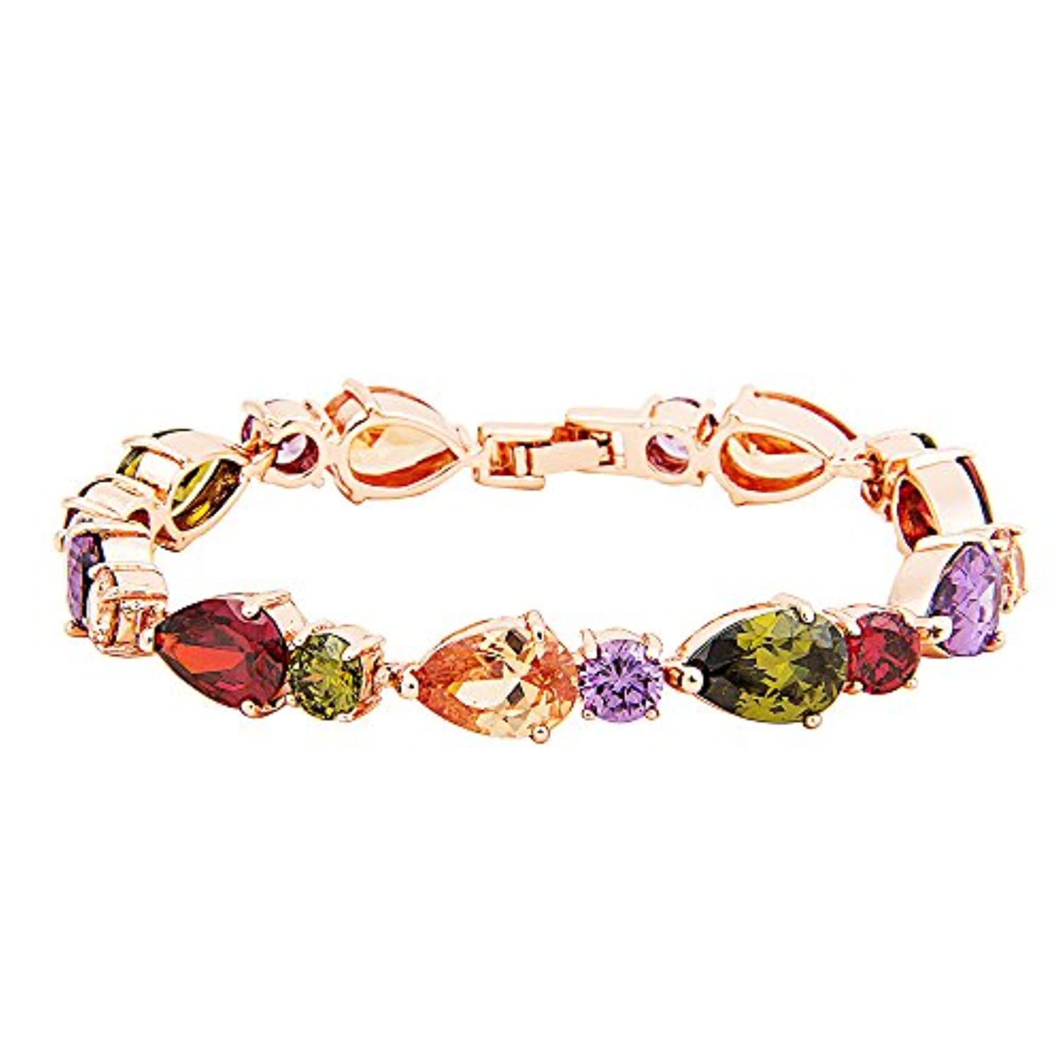 Fashion Luxurious Rose Gold Plated Brass Bracelet with Cubic Zirconia for Women (Rose Gold Zircon)