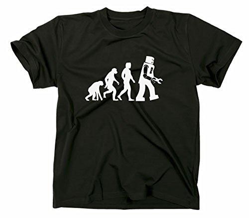 Something Somewhere Robot Evolution T-Shirt, Nerd, bang, Schwarz, XL