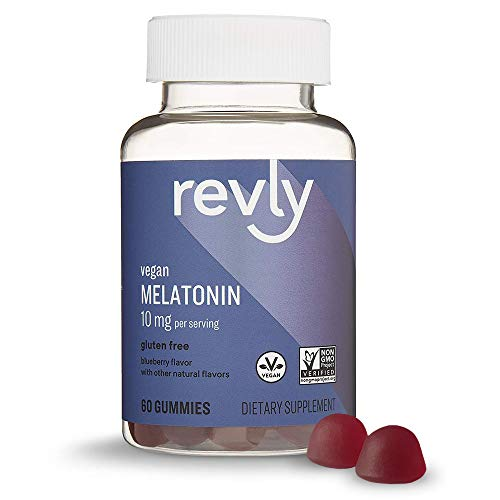 Amazon Brand - Revly Melatonin 10 mg, Helps with occasional sleeplessness, Blueberry Flavor, 60 Gummies (2 per Serving), Vegan, Non-GMO