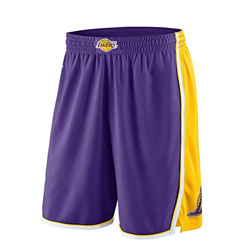 Los Angeles Lakers Basketball-Shorts für Herren, Jugendliche, Straßen-Mode, atmungsaktive Netz-Shorts, Fitnessstudio, athletisch, Freizeit-Sport-Shorts. L Lila B