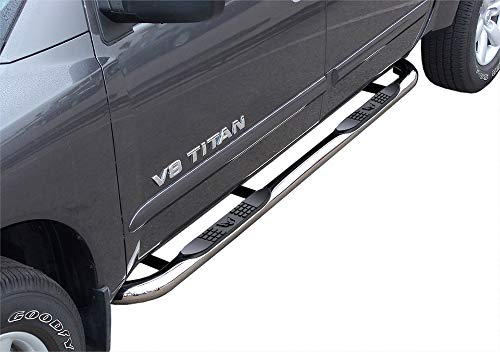 MaxMate Compatible with 2004-2015, 2017-2021 Nissan Titan Crew Cab; 2016-2021 Titan XD Crew Cab Stainless Steel 3' Side Step Rails Nerf Bars Running Boards