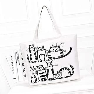 Gimax Shoulder Bags - FZMBAI Cartoon Cats Printed Female Shopping Tote Bag Big Canvas Handbag Women Portable sac - (Color: White)