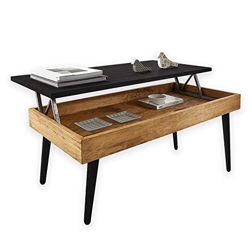 Mesa de centro elevable mesa de comedor para sala de estar y oficina superficie superior de 2 partes Ubrand Beliwin altura ajustable