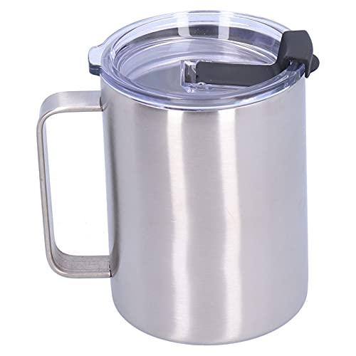 Taza de vacío, 15 oz con tapa de asa, taza de café aislada de acero inoxidable, accesorios para el hogar, oficina en casa, café, té, leche, cerveza
