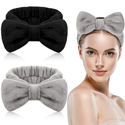 2 Stück Bowknot Haarbänder Makeup Stirnbänder Bowknot Spa Stirnbänder Koralle Vlies Haarbänder Elastisch Bad Dusche Kopfwickel für Frauen Mädchen Gesichtwaschen Dusche Sport