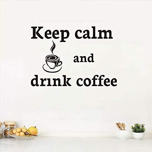 Cortar la historieta Mantener la calma y beber café etiqueta de la...