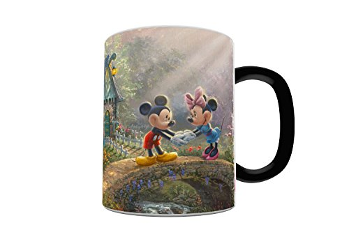 Disney - Mickey and Minnie Mouse - Sweetheart Bridge - One 11 oz Morphing Mugs Color Changing Heat Sensitive Ceramic Mug – Image Revealed When HOT Liquid Is Added!