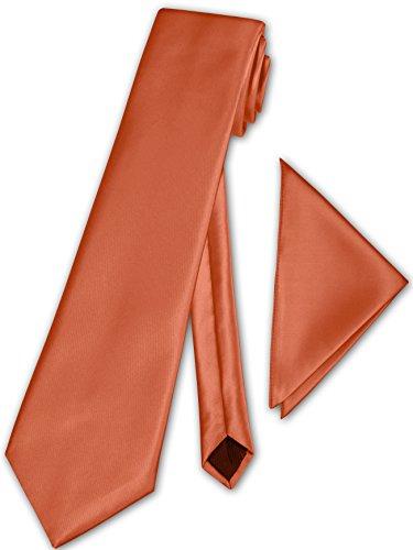 PABLO CASSINI (Fliegen) Herren Krawatte klassisch + Einstecktuch + Geschenkkarton - 40 Farben zur Auswahl (Orange)