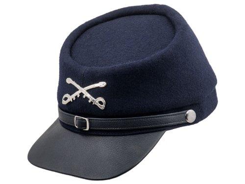 Sterkowski Echt Leder und Wolle Bürgerkriegs Sezessionskrieg Kepi Mütze 61 cm Dunkelblau