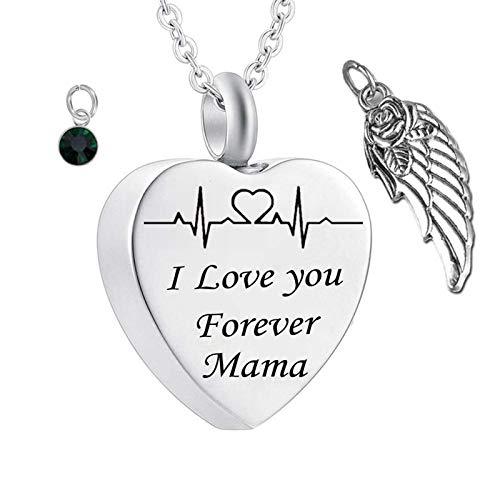 Amody Collar Cenizas Acero Inoxidable Corazón I Love You Forever Mama con Piedra de Nacimiento de ala Colgante Cenizas May Colgante Cenizas Hombre Mujer