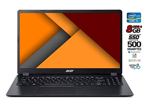 Portátil Acer Intel Core i3 de 7 hasta 2,3 GHz, SSD M2 de 500 GB, RAM de 8 GB DDR4, Pantalla de 15,6 Pulgadas HD LED antirreflectante, BT, WiFi, HDMI, Win10 Pro 64, Antivirus, Listo para Usar.