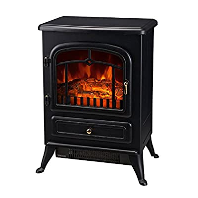 """HOMCOM Freestanding Electric Fireplace Heater with Realistic Flames, 21"""" H, 1500W, Black"""