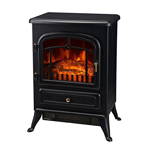 HOMCOM Freestanding Electric Fireplace Heater with Realistic Flames, 21' H, 1500W, Black