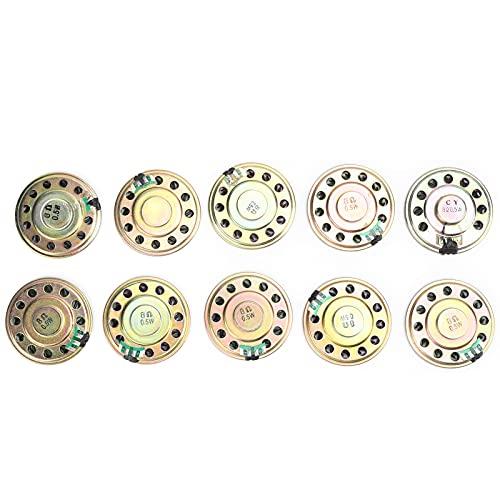 SHYEKYO Componentes de Altavoz de Audio, 10 Piezas de Material de Metal y Caucho 0,5 W 8 Ω 50 Mm Altavoz de Audio con Potencia Suficiente para la Industria