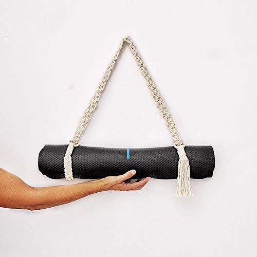 PPuujia Esterilla de ejercicio antideslizante para esterilla de yoga, correa de transporte hecha a mano, con ganchillo, macramé, ajustable, para esterilla de yoga, pilates, ejercicio físico (color 1)