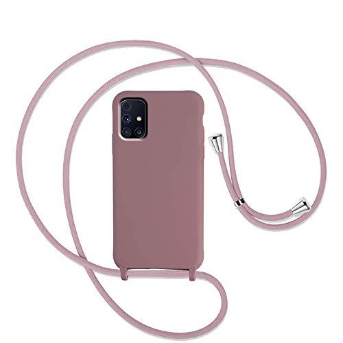 Yutwo Handykette Hülle für Samsung Galaxy M31S Necklace Hülle mit Stylische Kette Kordel zum Umhängen Premium Silikon Handy Schutzhülle - Schutzschale vor Stürzen & Stößen Necklace Hülle