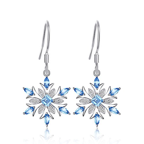 JewelryPalace Floco de nieve de las mujeres 1.4ct Genuino Topacio Azul Suizo Dangle Pendientes Plata de ley 925