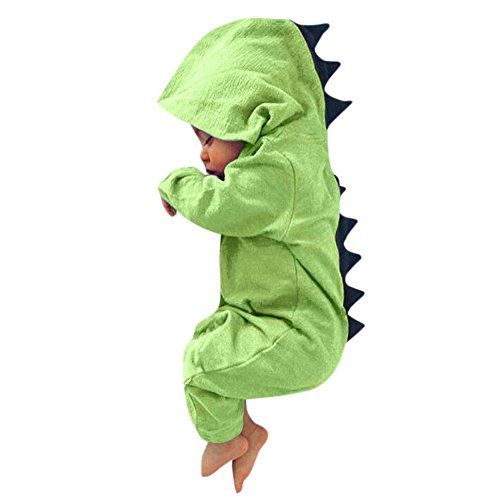 Newborn Baby Boy Girl Cute Dinosaur Hooded Romper Jumpsuit Clothes (6M, Green)