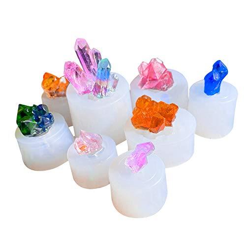 MJARTORIA Moldes de silicona de cristal, para manualidades, resina, moldeado, resina epoxi, juego de formas de resina, collar, pendientes, colgante, joyas, piedras, miniforma de medusas (8 unidades)